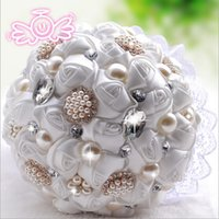 Wholesale 2015 Vintage Colorful Lace Artificial Wedding Bridal Bouquet With Pearl Beads Crystal Rhinestore White Red Purple Pink Flowers Rose Cheap