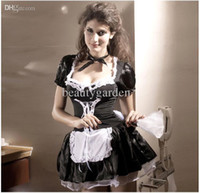 Wholesale Women s Short Sleeves Low cut Short Skirt Carnival Halloween Maid Dress Waitress Chambermaid Costume NL8181