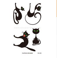 face stickers - In stock Halloween Cat Temporary Tattoos paste Tattoos stickers makeup Artistic club party cosmetics face mask temporary tattoo