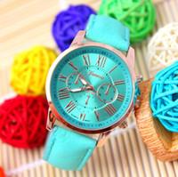 Wholesale High Quality New Geneva Women s watches Quartz relogio Roman Numerals Faux Leather Analog Wrist Watch