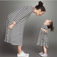 balck dress - Bear Leader New style Family Matching Outfits Mother And Daughter Fall Full Balck Striped Dress