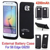 Wholesale New arrive mAh Portable Battery backup charger External Backup case for Samsung galaxy S6 Edge G9250 battery case with stand power bank