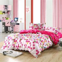 Wholesale hot pink polka dot prints cotton home textile full queen girl s bedding set with quilt duvet cover sets pc for comforter
