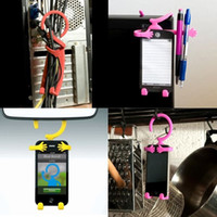 Wholesale Flexible smartphone mount Mobile stand silicone celluar hook cellphone holder people shape phone bracket bicycle phone holder