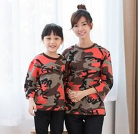 Cheap Family Clothing 2015 Spring Girls 7th Sleeve Camouflage Irregular T-shirt Fashion Mothers Daughters Clothes Family Dress Alikes Red M3330