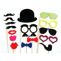 Envío gratis 16 Labios Photo Booth Atrezzo bigote en un orden de las pistas $ 18Nadie cumpleaños de la Navidad del palillo de la boda