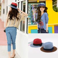 Wholesale Fashion Men Women Straw Sun Hat Chapeu Color Blocking Paper Bow Panama Sombrero Paja Gorras Summer Beach Cap Blue Coffee Red