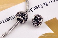 Wholesale New Arrival Flower Round Ball Beads Charm European Charms Bead Fit diy Snake Chain Bracelet Female Jewelry