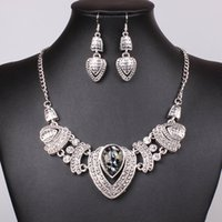 Wholesale New statement necklaces women crystal alloy necklaces pendants Earrings Sets fashion long necklaces jewelry free sh