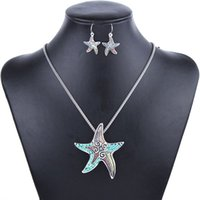 Wholesale MS1504253 Fashion Jewelry Sets High Quality Gold Plated Beads Multicolor Starfish Design Woman s Necklace Set Wedding Jewelry