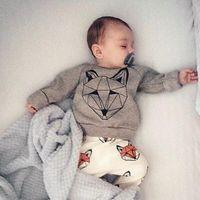 Wholesale INS Baby Outfits Infant Clothes Suits Cartoon Fox Long Sleeve T shirts Sets Harem Pants Trouser Suit Leggings Home Clothes Piece Set