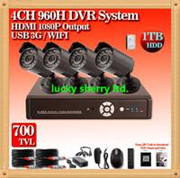 al por mayor sistema de red de la cámara de cctv-CIA- Free shippping! CCTV Sistema 700TVL 4ch DVR Kit Sistema de cámaras de seguridad IR Cámaras al aire libre CCTV 4CH 960H DVR, Monitor de red
