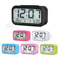 Wholesale New Modern LCD Screen Display Desktop Alarm Clock Digital Backlight Clocks Thermometer Calendar Snooze Function AIA00419