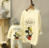 mickey - Family Dressy Mickey Mouse Cotton Long Sleeve T shirts Tops Family Mother and Daughter Clothing Family Dress Alikes Party White Gray K2428