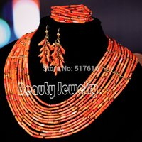 Wholesale 18K New Design African Jewelry set Nigerian Wedding Red Coral Beads Necklace Set Gift Jewelry Set