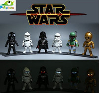 Wholesale 2015 Light Joint Movable Star Wars VII The Force Awakens Black Knight Darth Vader Stormtrooper Boba Fett PVC Action Figures Toys Best Gift