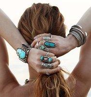 Wholesale Fashion gemstones rings blue gemstone multi designs natural turquoise rings adjustable size unisex for women mens