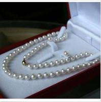 akoya pearl set - 6 MM White Akoya Cultured Pearl Necklace Earring Set