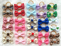 Wholesale Mix MM pet jewelry fabric hair bows dog bow tie decoration dog hair bows show head bowtie ornaments rubber band ring flower