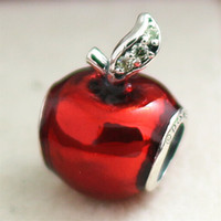 Wholesale 100 Sterling Silver Snow Whites Apple Charm Bead with Red Enamel and Cz Fits European Jewelry Bracelets Necklaces Pendants