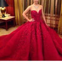 beautiful chinese dress - Vestidos De Noiva Beautiful Chinese Red Wedding DressesWith Appliques Ball Gowns Backless Long Train Lace Bridal Skirt New Year