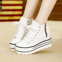 Comercio al por mayor de 2015 mujeres de la manera de tacón alto de la plataforma Zapatillas Zapatos de lona Ascensores Blanco Negro top del alto de la mujer Casual zapatos con cremallera