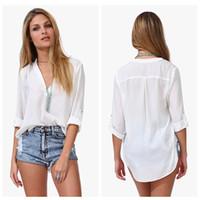 Wholesale 2015 Spring Summer European American Loose Pattern Women s Fashion Shirts Ladies Casual Top Blouse Clothing