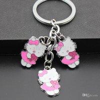 Grossiste-Fille Femmes Belle Rose Fleur Hello Kitty Porte-clés Porte-clés / Sac Pendentif Charmes Enfants Cadeau MO132