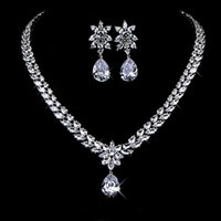 cubic zirconia stone - YMZ Design Luxury Fairy Love Marquise Stone Cluster Flower Drop Pear Cubic Zirconia Necklace and Earring Wedding Jewelry Set BSCN0152