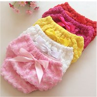 Wholesale New Children Clothes Baby Girl Lace Flower Bows Cotton PP Pants Underwear Diaper Cover Mix colors