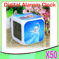 Wholesale DHL New LED Colors Change Digital Alarm Clock Frozen Anna and Elsa Thermometer Night Colorful Glowing Clock ZY NZ