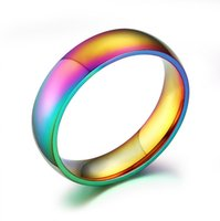 american pride - 6mm Wide Gay Pride Rings Jewelry Rainbow Wedding Rings for Wwomen and Men Stainless Steel High Polished Plain Ring
