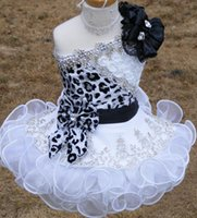 black and white flower girl dresses - 2015 New Glitz Pageant Dresses for Girls Toddler One shoulder Black and White Organza Beaded with Handmade Flowers