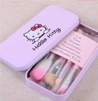 Acheter Brosses 7pcs-Bonjour Kitty Make Up pinceau cosmétique Kit Pinceaux Rose fer Case / Toiletry Beauté Appliances 7pcs / set