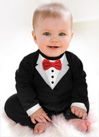 Wholesale 1pcs newborn Boy Baby Formal Suit Tuxedo Romper Pants Jumpsuit Gentleman Clothes for infant baby romper jumpsuits