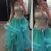 arty dresses - Sexy Sheer Neck Sequin Crystals Mint Green Eveniing Prom Dresses OrganzaP Ruffles arty Dresses
