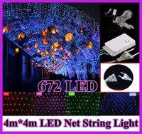 Noël LED Net lumière 672 LED 9 flash modes Web guirlande lumineuse 4 m x 4 m chaîne Led décoration + alimentation plug110/220V EU nous