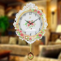 antique rose garden - Rose garden living room bedroom wall clock creative clock Continental decorative arts mute pocket watch modern fashion watches