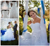 Robes de mariée blanche / ivoire de vente chaude Organza chérie volants chapelle robes de mariée Stock Size6-16