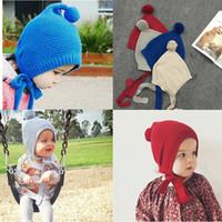 Wholesale Children hat New Autumn Winter Unisex Kids Girls Boys Knitted Hat Baby Cotton Balls Strap Beanies Cap Bonnet Photo Props Colors