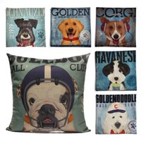Wholesale New Home Decorative Sofa Cushion Print Throw Pillow Case quot Vintage Flax Cotton Square Cute Cartoon Dog Pilliw No Filler Cushion Cover