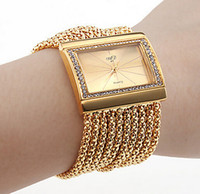 Wholesale Classic Brand Women s Dress Bracelets Watch Fashion Square Face Quartz Clock Fashion Rhinestone Diamond Luxury Bangle Watches