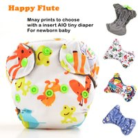 Wholesale Happy Flute Cloth Diaper M Newborn Reusable Baby Diapers With a Insert Sewn Inside Baby Nappies Couche Lavable Without Insert