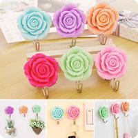 bathroom door accessories - Rose Wall Clothes Rack Door Hook Towel Coat Robe Hanger for Bathroom Accessories