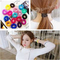 color rubber hair bands - Candy Colored Telephone Line Mix Color Fashionable Gum Elastic Ties Ring Wear Hair Spring Rubber Band For Girl Women Free DHL