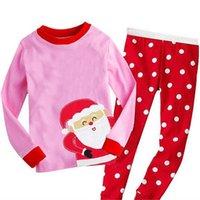 Wholesale Santa Claus Theme Baby Girl Long Underwear Sets Toddler Kid Children Pink Top Dot Pants Printed Christmas Outfits Free Ship