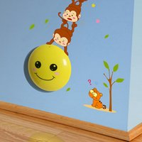 Colored Bulbs baby tickers - Creative Cartoon Fishing Moon Monkeys Light Sensor Baby Wall tickers Night Lights Baby Bed Room D Wall Decal Night Lamps