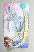 Wholesale Fashion Hot Girls Frozen Accessories Crown Wig Magic Wand Elsa Anna children accessories Frozen Magic Wand Rhinestone Crown Girls Wig