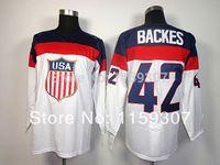Cheap USA 42 Backes 2014 Olympic Premier Blue and White Hockey Jerseys Free Shipping