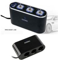 Wholesale Black Way Auto Car Cigarette Lighter Socket Splitter V Charger Power Adapter Plug DC V USB Control with skin packing